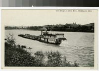 Coal barge on Ohio river, Middleport, Ohio, 1930-1944