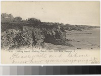 "Looking toward ""Bathing Beach"" from cliff walk, Newport, Rhode Island, 1901-1907"
