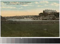 Harbor view showing E.D. Morgan's Residence and Lime Rock Light, Newport, Rhode Island, 1907-1914