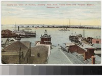 Bird's-eye view of harbor, showing New York Yacht Club and Torpedo Station, Newport, Rhode Island, 1907-1913