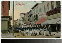 Naval boys on parade and Thames Street, Newport, Rhode Island, 1907-1914