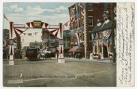 Old Home Week decorations, Washington Square and Perry Arch, Newport, Rhode Island, 1901-1906