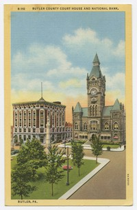 Court House and National Bank, Butler, PA, circa 1930-1944