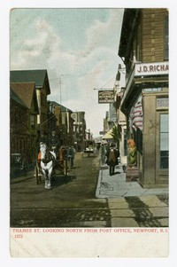 Thames Street, looking north from post office, Newport, Rhode Island, 1901-1907