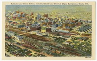 Burlington and Union Stations, Industrial District and Heart of a City in Background, Omaha, Nebraska, 1930-1944