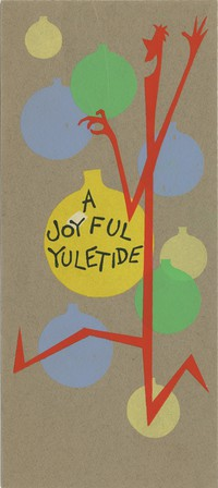 "Henson, Jim. ""A Joyful Yuletide."" Silkscreen on board stock. 9""x4"". c1956. [unsigned, no internal note]"