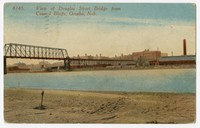 View of Douglas Street Bridge from Council Bluffs, Omaha, Nebraska, 1907-1913