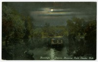 Moonlight on lagoon, Hanscom Park, Omaha, Nebraska, 1907-1914