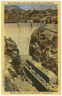 Hoover (Boulder) Dam and Arizona Wing of Powerhouse, Boulder City, Nevada, 1930-1951