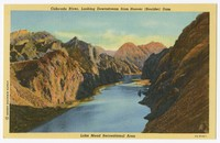 Colorado River, looking downstream from Hoover (Boulder) Dam, Boulder City, Nevada, 1930-1951