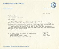 Gordon to Pond. On SUNY Buffalo letterhead. TLS, 1pp.