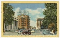 Virginia Street, showing Washoe County Court House, Hotel Riverside and Hotel Mapes, Reno, Nevada, 1930-1950