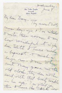 To Mary F. Green -- From Edith F. Brooke Green
