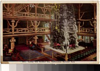Lobby of the Old Faithful Inn in Yellowstone National Park, Wyoming, 1915-1938