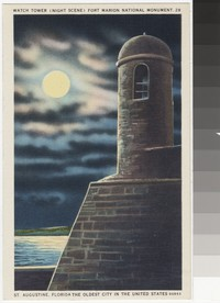 Watch tower at night, Fort Marion, St. Augustine, Florida, 1930-1944