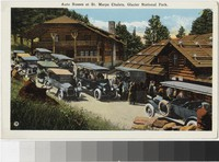 Automobiles at St. Marys Chalets, Glacier National Park, Montana, 1907-1914