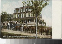 "Tourists, show in a ""Mountain Brake"", outside a hotel in Bethlehem, New Hampshire, 1907-1911"