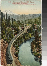 Train on the Sacramento River with Mount Shasta in the Background, Castella, California, 1907-1912