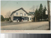 Albrights Corner with general store in foreground, Dingmans Ferry, Pennsylvania, 1907-1914
