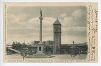 Monument erected by the Daughters of the Revolution and Mt. Royal Railroad Station in Baltimore, Maryland, 1901-1907