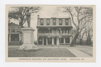 Confederate monument and Montgomery House in Rockville, Maryland, 1907-1914