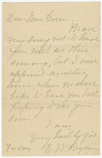 To Edith F. Brooke Green -- From E. W. Byden