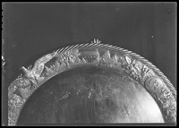 Picture and proof of silver platter with scene of Harmony Hall, October 14, 1937