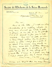 Letter from Ernest Ansermet to Michel-Dmitri Calvocoressi, March 15, 1925