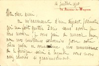 Letter from Pierre Aubry to Michel-Dmitri Calvocoressi, July 1910