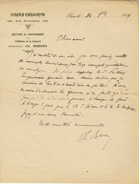 Letter from Charles Bordes to Michel-Dmitri Calvocoressi, August 30, 1909