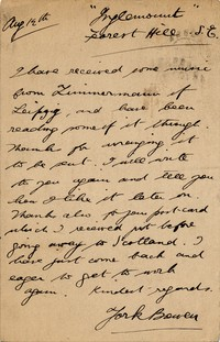 Letter from York Bowen to Michel-Dmitri Calvocoressi, August 13, 1907