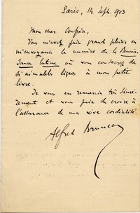 Letter from Alfred Bruneau to Michel-Dmitri Calvocoressi, September 14, 1903