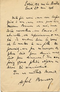 Letter from Alfred Bruneau to Michel-Dmitri Calvocoressi, May 25, 1908