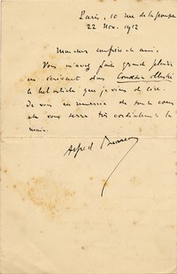 Letter from Alfred Bruneau to Michel-Dmitri Calvocoressi, November 22, 1912