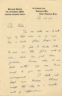 Letter from William Busch to Michel-Dmitri Calvocoressi, December 3, 1936