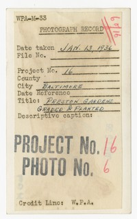 Preston Gardens - graded and planted, Baltimore, MD, January 13, 1936