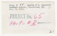 Quarry number one opposite Parkway School, Frederick, Maryland, December 5, 1935