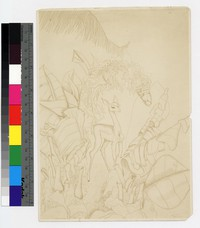 "Photographic reproduction of silverpoint showing deer among plants and leaves -- (9 1/2"" x 6 1/2"". Black and white. Silverpoint by Thelma Wood)"