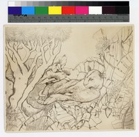 """Photographic reproduction of silverpoint showing jaguar among trees and foliage -- (7"""" x 8 1/2"""". Black and white. Silverpoint by Thelma Wood)"""