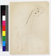 "Photographic reproduction of silverpoint showing two giraffes -- (7"" x 6"". Black and white. Silverpoint by Thelma Wood. Signature on recto: ""TE Wood/Paris 1929."")"