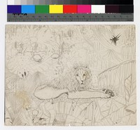 "Photographic reproduction of silverpoint showing lion in jungle -- (6 1/2"" x 8 1/4"". Black and white. Silverpoint by Thelma Wood. Signature on recto: ""TE Wood/Paris 1929."" On verso: ""Do you think he is beautiful?"")"