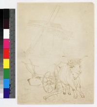 """Photographic reproduction of silverpoint showing ox hitched to plow with windmill in background -- (9"""" x 7"""". Black and white. Silverpoint by Thelma Wood. Signature on recto: """"TE Wood/France 1929."""""""