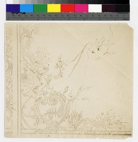 "Photographic reproduction of silverpoint showing two giraffes with flower decoration -- (7 1/2"" x 8 1/4"". Black and white. Silverpoint by Thelma Wood. Signature on recto: ""TE Wood/NYC 1929."")"