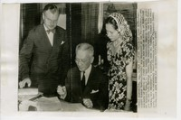 Press release photo of Sergio Osmeña being signed into office [Photograph, Black and White] [Digital Only]