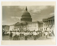 Filipino Youth Band in Front of Capitol Building [Photograph, Black and White] [Notebook 2]