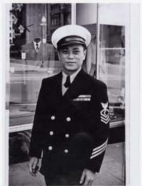 Luis Buena in United States Navy uniform, F Street, Washington, D.C. [Photograph, Black and White] [Notebook 1]