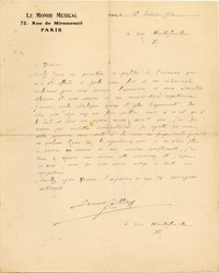 Letter from Laurent Ceillier to Michel-Dmitri Calvocoressi, February 18, 1914