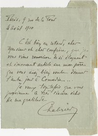 Letter from André Chabrier to Michel-Dmitri Calvocoressi, April 4, 1910