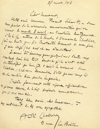 Letter from André Chabrier to Michel-Dmitri Calvocoressi, March 21, 1913