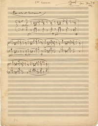 "Emmanuel Chabrier, autographed score of ""1er Concours"" for piano, 1889"